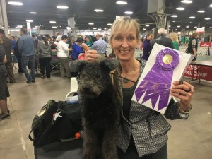Catskill Falusi Ficko with co-owner, Nanci Haddad Blackwell in Kentucky, where Ficko has finished his Championship in a competition with one o of the highest number of Pumis present.