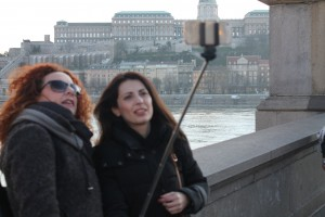 Selfish...? shellfish..? selfies...? all on the Chain Bridge over the Danube River