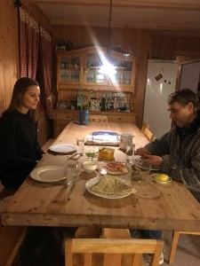 Traditional dinner, including rakfisk, a fermented aged raw fish with Lisbeth and Oddbjørn.