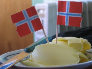 Norwegian butter served on Constitutional Day. Norwegians take their butter seriously.