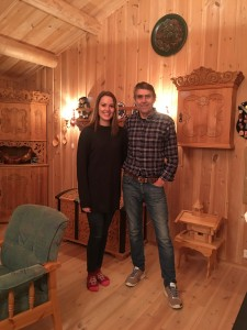 My wonderful hosts, Lisbeth Åvangen and her dad, Oddbjørn, owner of Ares in Lora, Norway. THe woodwork in the background is Oddbjørn's master craft work.