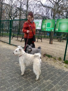 My sister Zsuzsa with my Pumis