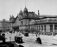 The tram in front of Eifel's Budapest West Railway Terminal than...