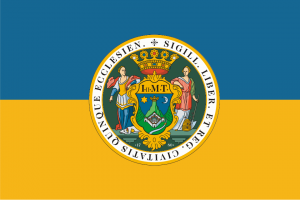 "The flag of Pé with the coat of arm of the city. it says, Seal of the Free Royal City of Fivechurch"" granted by Maria Theresa (i thin"