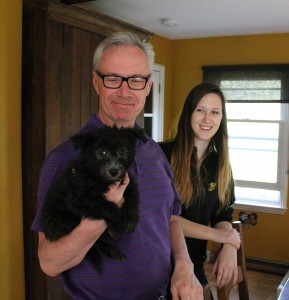 When Pennsylvania meets Transylvania... Richard Long visited the pups earlier this week from Pennsylvania.  Can they be descendants of Penn and Tran, the Sylvania twins?