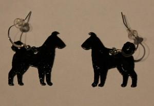 Black painted metal Pumi earrings with sterling or gold filled findings $25/pair