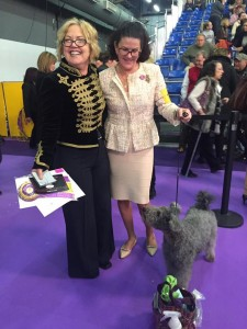 Anka after her 2017 Westminster KC Best of Breed placement with her handler, Jan Kolnik (right) and Repasi Ildiko, owner/breeder (left)