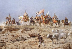 the seven chieftains of the Hungarians with the cart pulling gray cattle