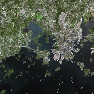 A SPOT sattelite image of part of the Metropolitan Area of Helsinki.