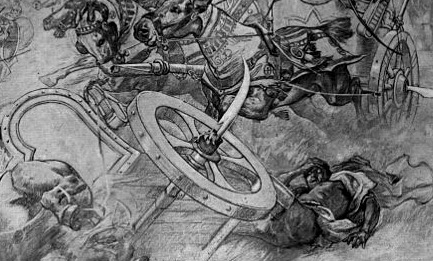 Grandeous chariot crashing scene from proud Roman history