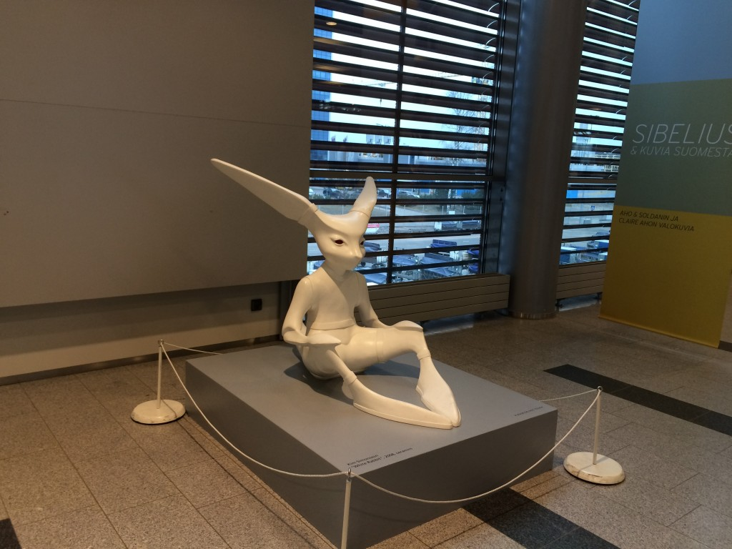 "If you had one too many of the cocktails on the plane, you might freak out that you ended up on planet El-Adrel from ""Star Trek: The Next Generation"" and bumped into a Tamarian when encountering Kim Simmonnsonn's ceramic sculpture in the Art Port at the Helsinki Airport near Gate 37  (Curtesy of Finavia Corporation)."