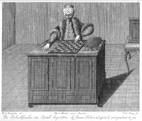 """The Turk, "" Wolfgang of Kempelen fake chess machine with a chess master hidden inside..."