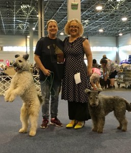 With Piroska Nagy and her Pumi Gomolya. He was BOB Friday at the HPK club show. Congratulations!