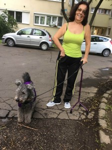 My sister, Zsuzsanna, the Csiken Paprikas Lady with Anka. Anka is wearing her cooler because of the unusual heat (at least for us upstate NY farmers